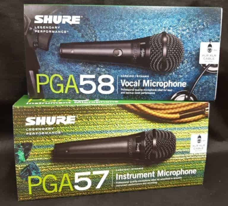 Shure vocal microphone PGA58 and Shure instrument microphone PGA57