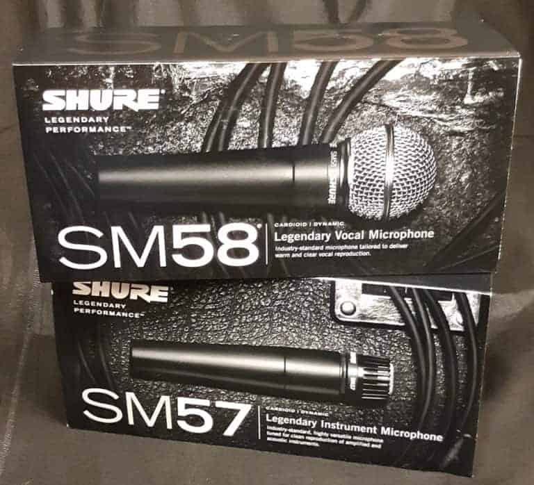 Shure vocal microphone SM58 and Shure instrument microphone SM57