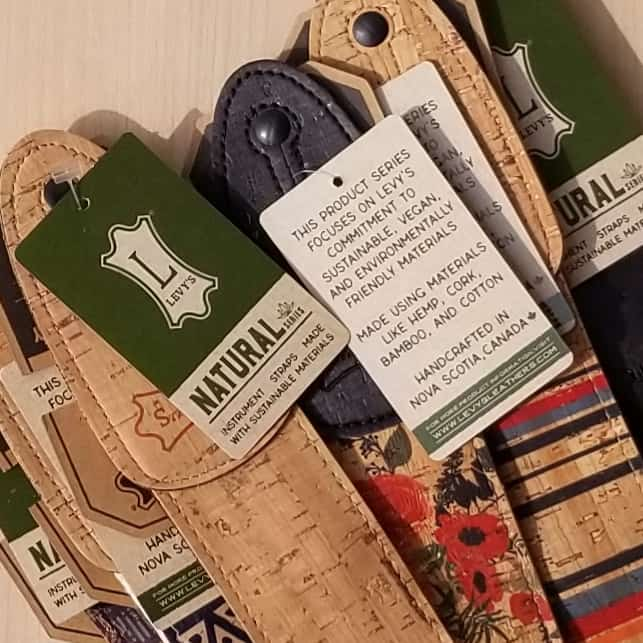 Levy's Natural instrument straps from sustainable vegan materials