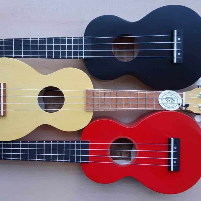 Mahalo MR1 Rainbow Series soprano ukuleles - black, butterscotch, red