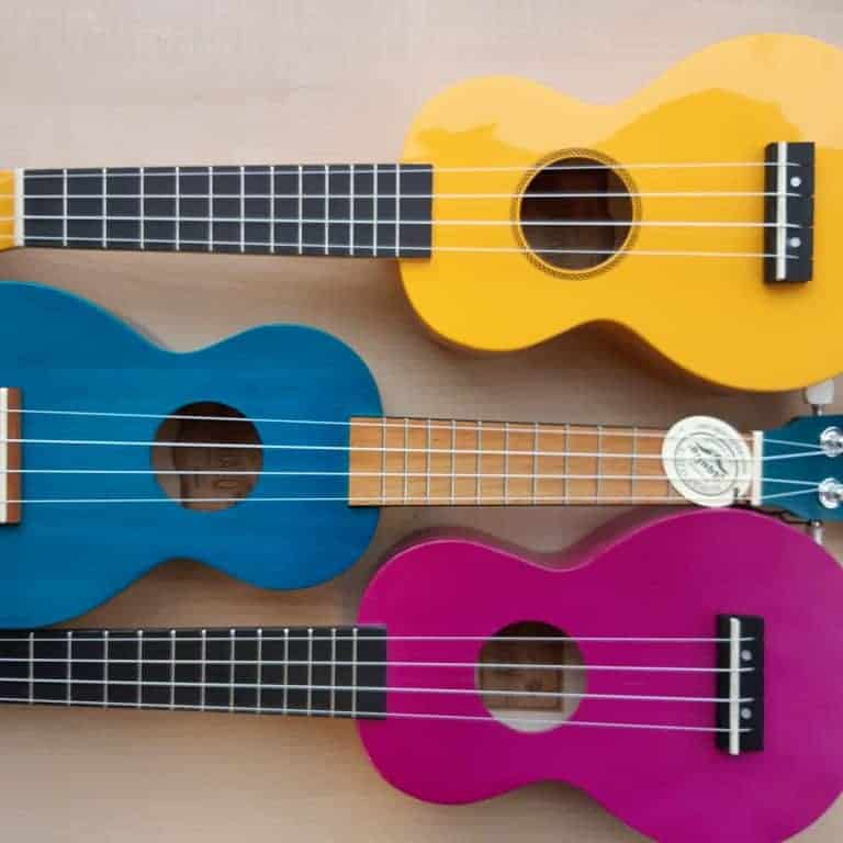Mahalo MR1 Rainbow Series soprano ukuleles - yellow, transparent blue, transparent purple