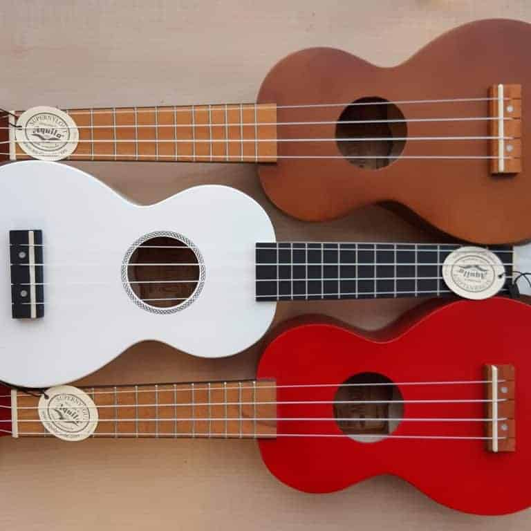 Mahalo MR1 Rainbow Series soprano ukuleles - red, white, transparent brown