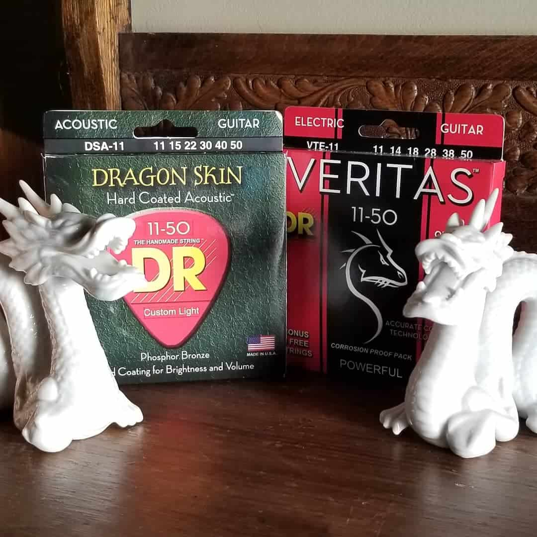 DR Dragon Skin acoustic and Veritas electric guitar strings