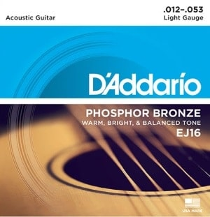 D'addario Phosphor Bronze EJ16 acoustic guitar strings
