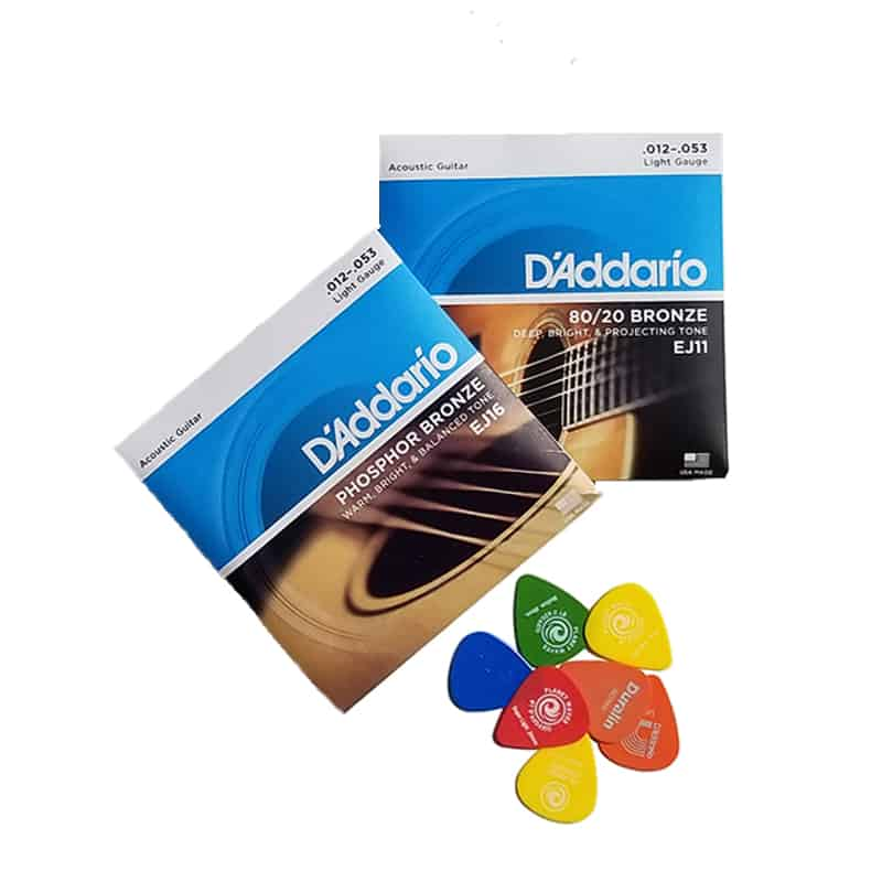 D'Addario Phosphor Bronze and 80-20 Bronze acoustic guitar strings EJ16 and EJ11