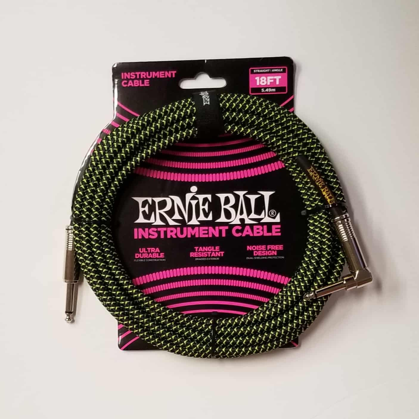 Ernie Ball braided instrument cable green 18 foot