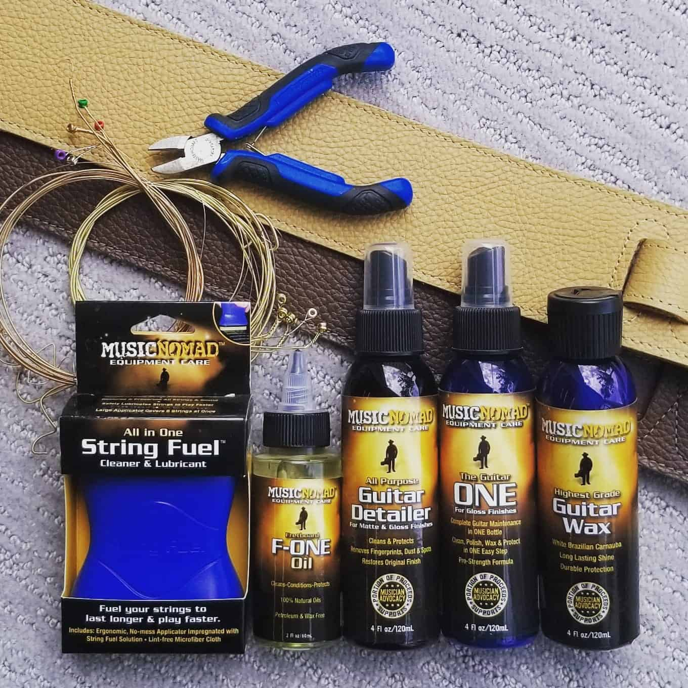 Music Nomad String Fuel, F-One Oil, Guitar Detailer, The Guitar ONE and Guitar Wax cleaners