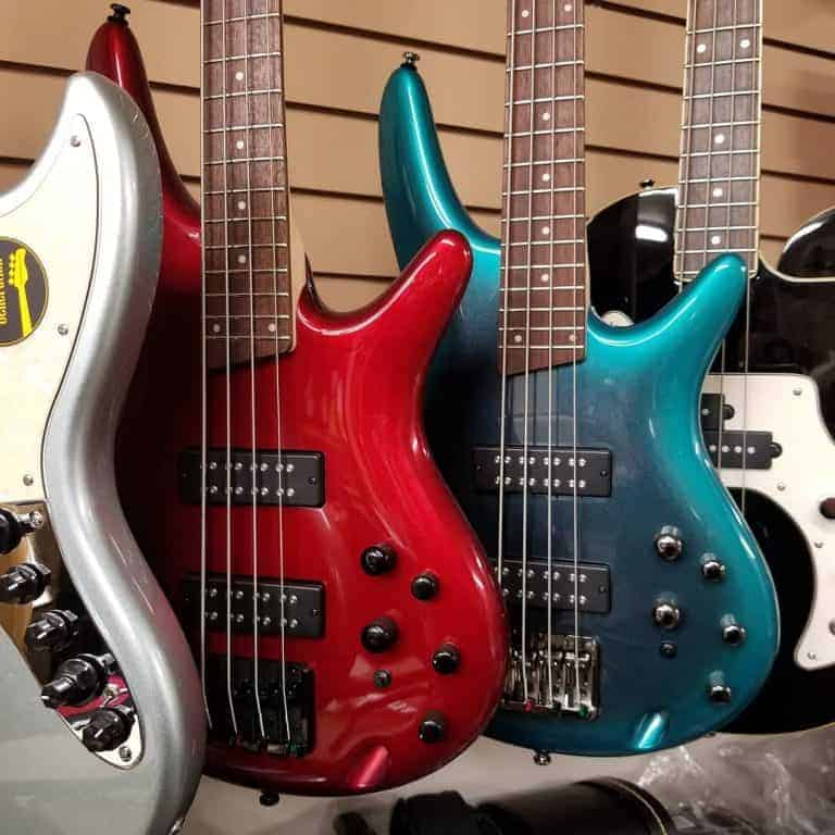 Ibanez SR300 EB Candy Apple Red and SR300E Cerulean Aura Burst Teal Electric Bass Guitars