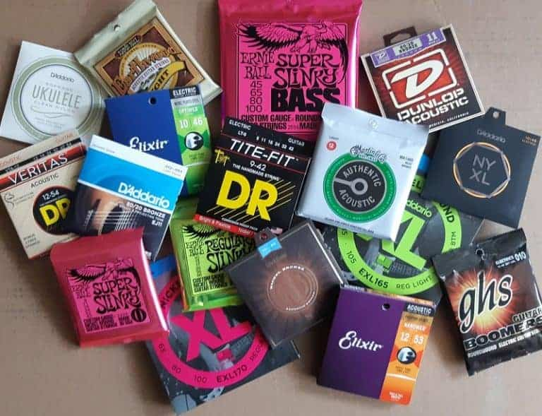 Variety of brand name acoustic and electric guitar strings