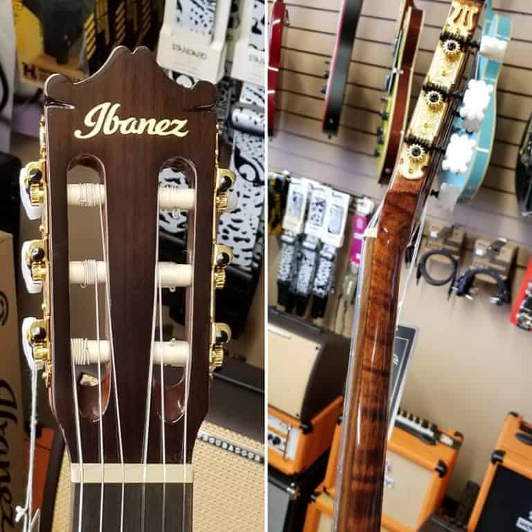 headstock and neck detail on Ibanez GA15 classical