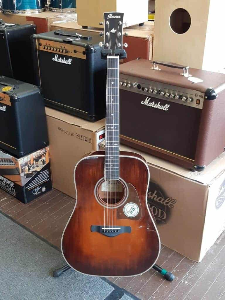 Ibanez AVD 10 acoustic guitar in brown violin sunburst