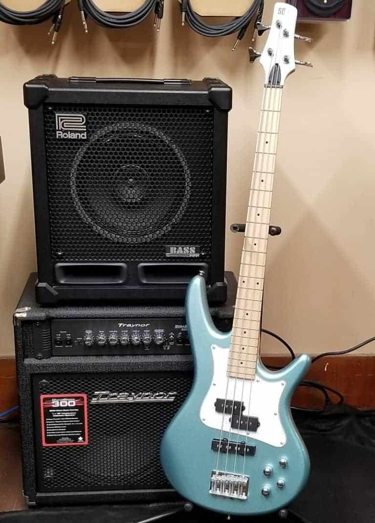 Roland and Traynor bass amps with sea foam blue Ibanez SR Mezzo Bass