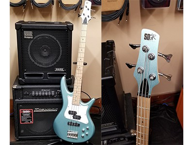 Ibanez SR mezzo bass guitar in sea foam pearl green