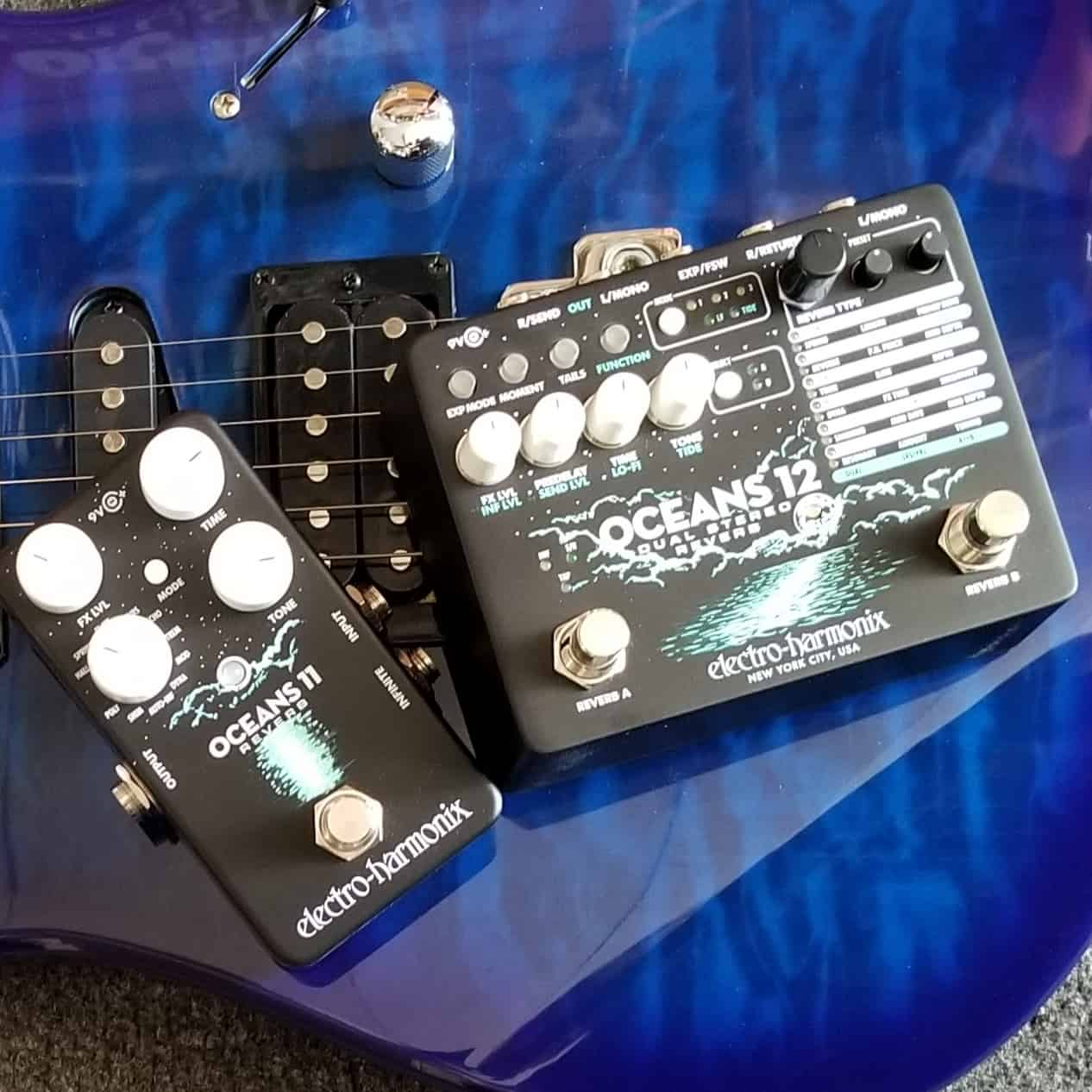 EHX Oceans 11 and Oceans 12 reverb effects pedals