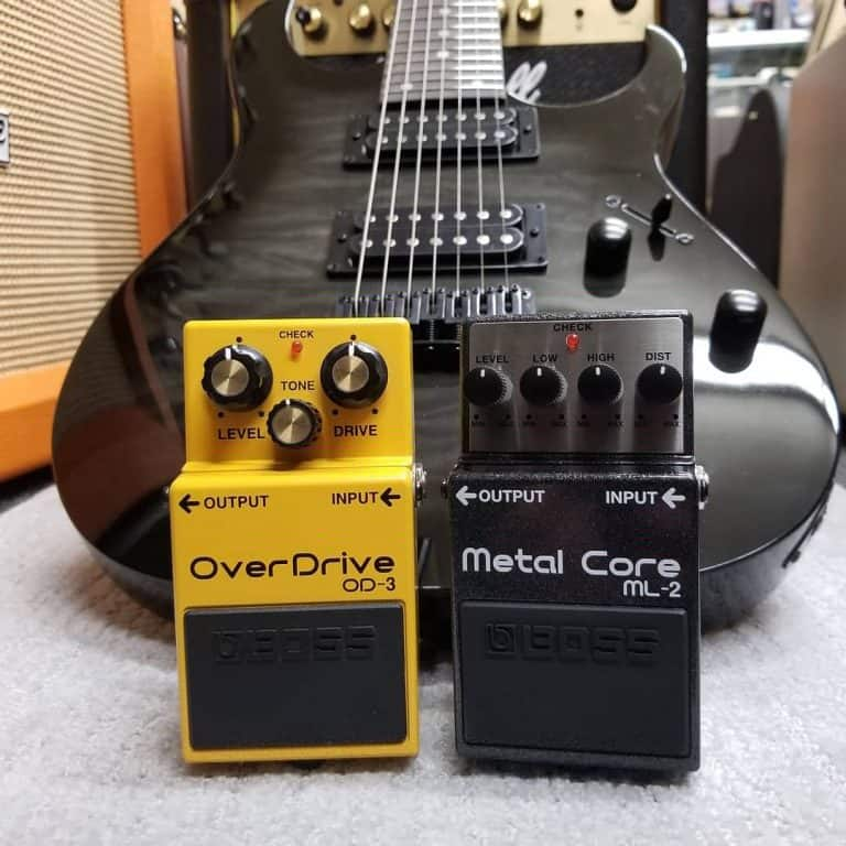 Boss OD-3 OverDrive and ML-2 Metal Core effects pedals