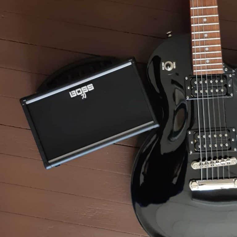 Boss Katana Mini amplifier with Epiphone Les Paul Studio guitar
