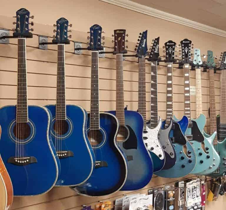 Oscar Schmidt and Ibanez guitars - blue