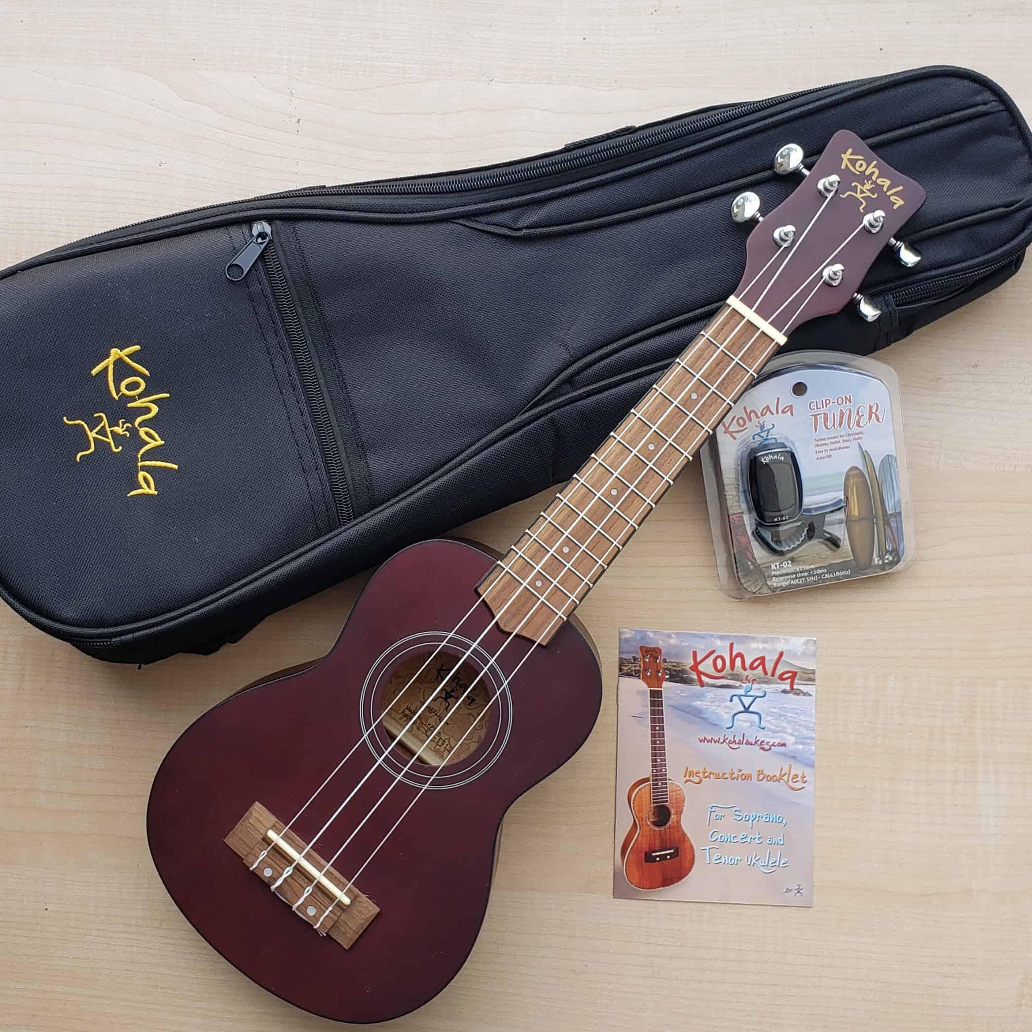 Kohala Soprano ukulele player pack with gig bag and tuner